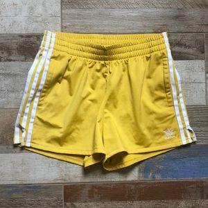 Adidas shorts yellow three stripes